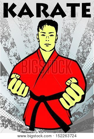 Martial arts. Karate fighters in red kimono silhouette scene poster, plakat