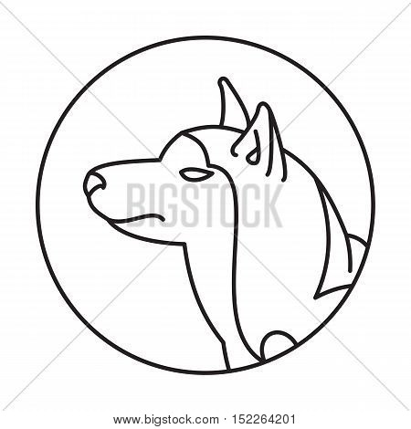Dog head siberian husky in a linear style. Pedigreed friend picture, vector illustration