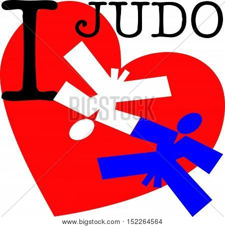Martial arts. Judo fighters silhouette scene poster, plakat. I love judo wrestling