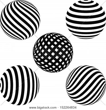 set of geometric shapes diagonal stripes on the balloon - a sphere a vector illustrate for print or website design