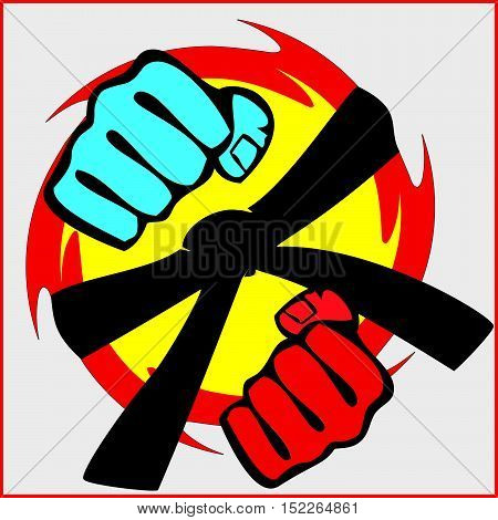 Martial arts. Karate fighters power fists silhouette. Vector. EPS
