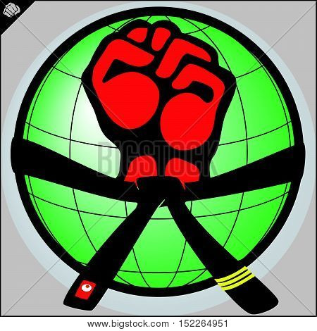 Martial arts. Karate fighters world power fist silhouette. Vector. EPS