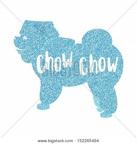 Form of round particles flat pet chow. Doggy domestic and creature dog breed chow-chow, vector illustration