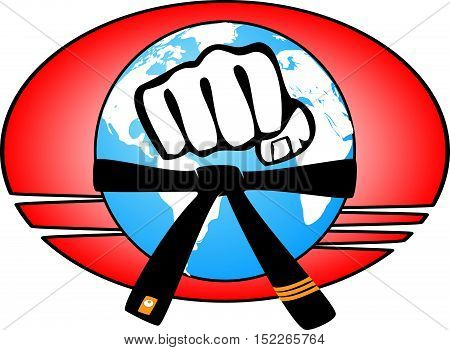 Martial arts. Karate fighters power fist logo silhouette. Vector. EPS