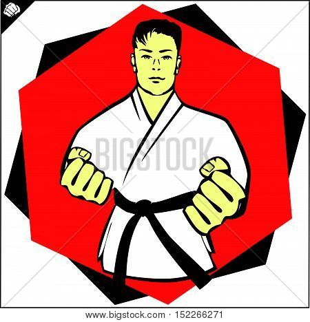 Martial arts. Karate fighter power fist silhouette. Vector. EPS
