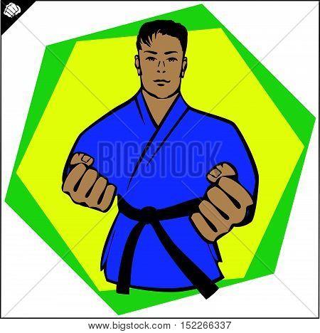 Martial arts. Karate fighter power fist silhouette logo simbol. Vector. EPS