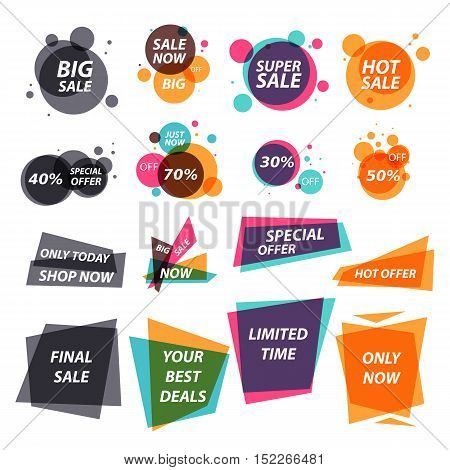 Set of vector flat design sale stickers. Illustrations of sale and discounts banners. Elements for ads design.