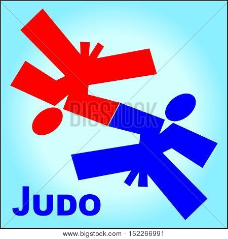 Martial arts.Aikido Judo fighters silhouette logo plakat, poster. Vector. EPS.