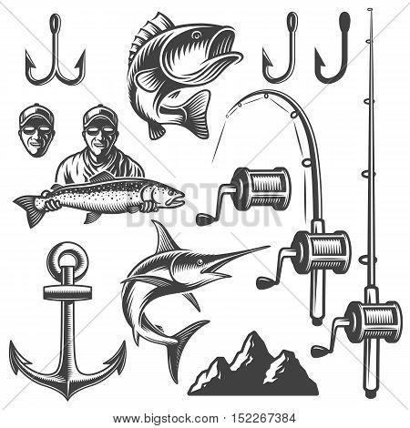 Set of vintage monochrome fishing elements isolated on white background
