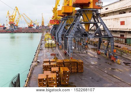 Odessa, Ukraine - Oktyabr13, 2016: Container Cranes In Cargo Port Terminal, Cargo Cranes Without Job