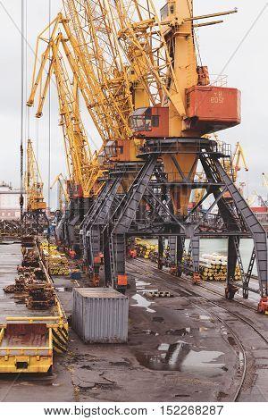 Odessa, Ukraine - Oktyabr13, 2016: Container Cranes In Cargo Port Terminal, Cargo Cranes Without Job