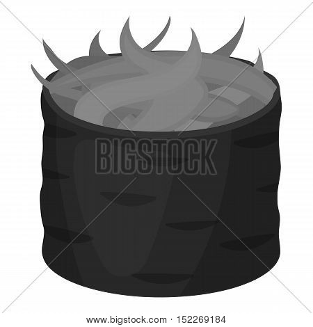 Gunkan maki icon in monochrome style isolated on white background. Sushi symbol vector illustration.