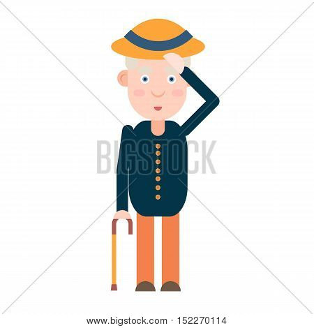 Elderly gentleman greets with hat, manners respect vector illustration