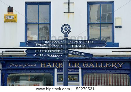 Whitstable United Kingdom -October 1 2016: Direction sign in Whitstable