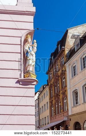 Trier, Germany - April 7, 2008:  Statue Of Virgin Mary On Simeon Street