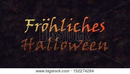 Frohliches Halloween text in German dissolving into dust to bottom