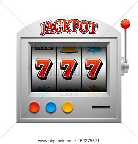 Casino slot gambling machine vector lucky and win concept. Jackpot in gamble game illustration