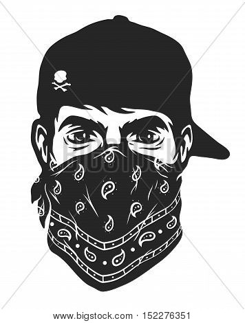 A guy in a baseball cap and bandana. Vector illustration.