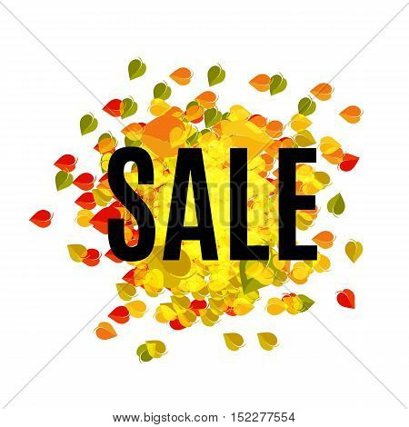 Isolated abstract colorful sale logo on leaves background. Shopping center logotype. Autumn mall backdrop. Discont icon. Vector sale illustration. Foliage texture. Vector autumn sale illustration
