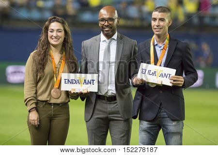 VILLARREAL, SPAIN - OCTOBER 16th: (C) Marcos Senna during La Liga soccer match between Villarreal CF and R.C. Celta de Vigo at El Madrigal Stadium on October 16, 2016 in Villarreal, Spain