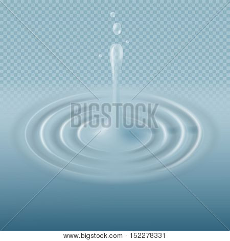 Blue water falling drop with ripple surface vector illustration. Droplet and splashing clean, fresh raindrop