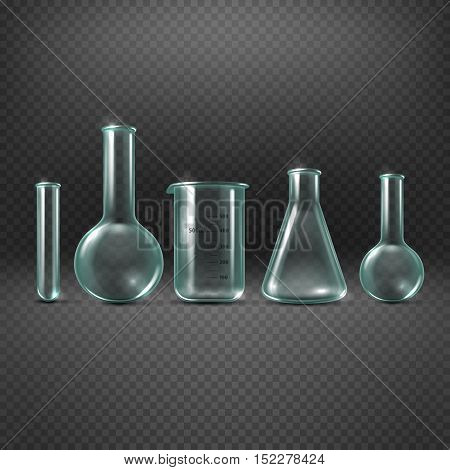 Chemical realistic test tubes vector set. Beaker glass for analysis and medicine experiment illustration
