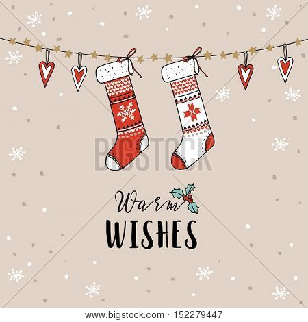 Vintage Christmas New Year greeting card invitation. Traditional decoration hanging knitted socks stockings hearts and falling snow. Hand drawn vector illustration.