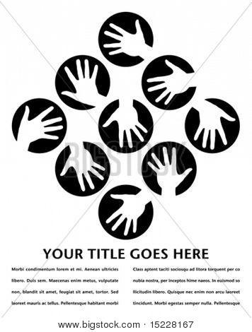 Mano círculos diseño con espacio de copia.