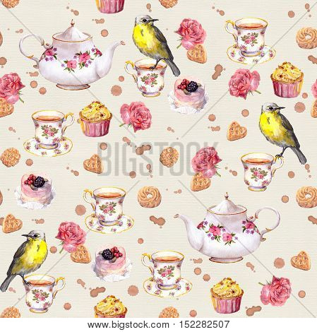 Tea pot, tea cup, cakes, rose flowers and bird. Seamless tea vintage pattern. Retro watercolor