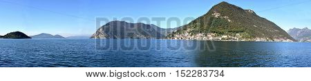 A panoramic view of Monte Isola and Lake Iseo in Brescia - Italy