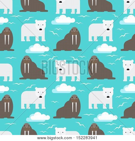 Seamless Pattern With Polar Bear and Walrus Flat Design. Vector illustration