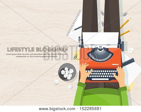 Workplace with typewriter. Flat design.Writing a blog, blogging.Storytelling technique.Copywriting.