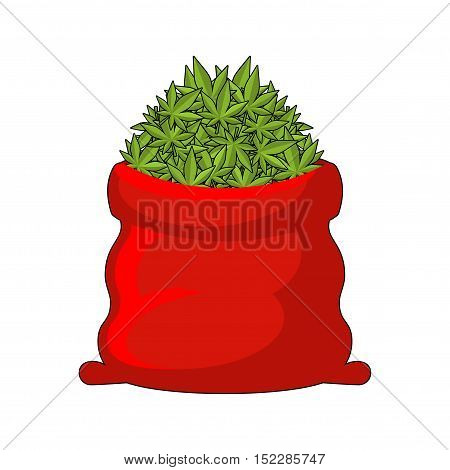 Full Santa Sack Of Cannabis. Large Red Bag Of Marijuana. Smoking Drug. Heap Hemp. Gift For New Year
