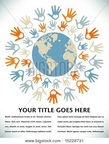 Kleurrijke wereld vrede en eenheid ontwerp.