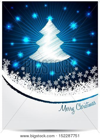 Blue white christmas greeting card design with bursting scribbled christmastree