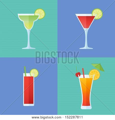 Set of popular alcoholic cocktails. Margarita, cosmopolitan, bloody mary and tequila sunrise. Flat style icons. Vector illustration.