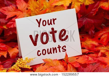 Your vote counts message Some fall leaves with a greeting card with text Your Vote Counts