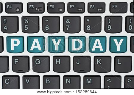 Getting paid for your online business A close-up of a keyboard with teal highlighted text Payday