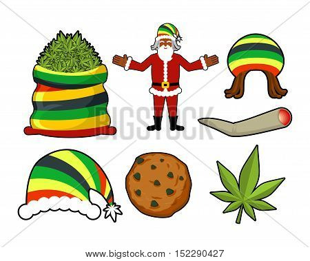 Rasta Christmas Icons Set. Santa Claus And Big Sack Hemp. Bag Of Marijuana. Pile Of Green Cannabis.