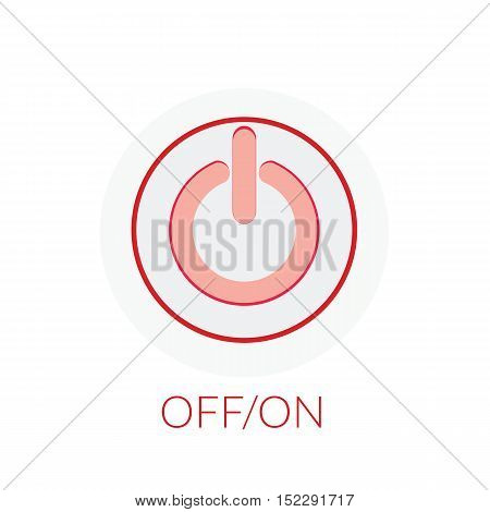 Button Power Concept By On Off Button With Red Tones