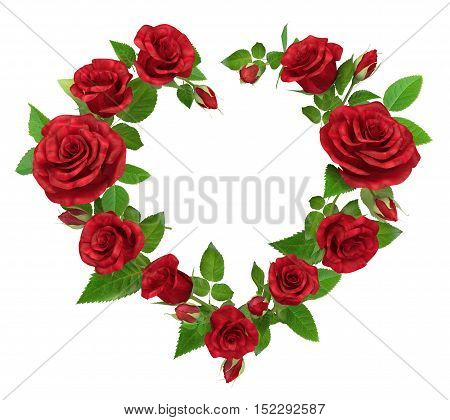 Red rose frame in the shape of heart isolated on white 3d illustration.