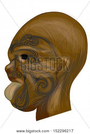 maori tatoo. traditional tatoo on wooden mask
