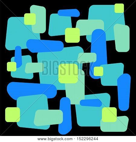 Abstract vector ornament on square tile. Colorful blue and green eometric decorative pattern. Rectangle element for web design or graphic decor