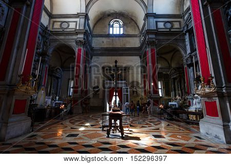 Venice Italy - May 05 2016: Interior of the church of San Salvador located nearby a Marco Polo square