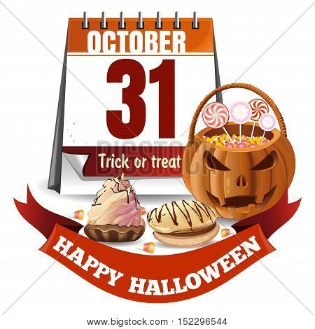 Halloween calendar and basket in the form of a pumpkin with candies. Trick or treat. Vector illustration