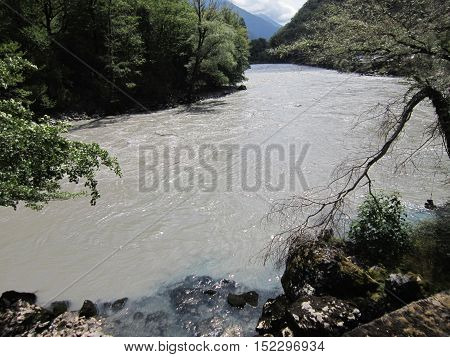 The mountain river promptly bears the waters on the gorge among mountains