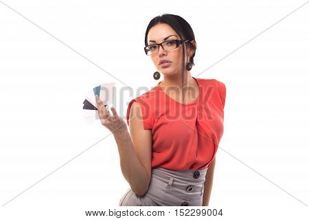 Closeup Of Beautiful Smiling Business Woman Showing Card In Hand Isolated
