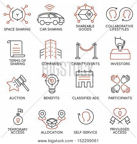 Vector set of 16 thin icons related to altruism cooperation collaborative consumption and volunteering. Mono line pictograms and infographics design elements