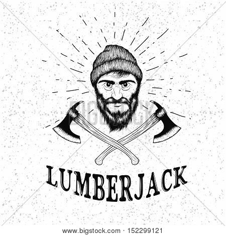 Face of lumberjack with beard, hat and two axes.Prints design for t-shirts.Hand drawn illustration