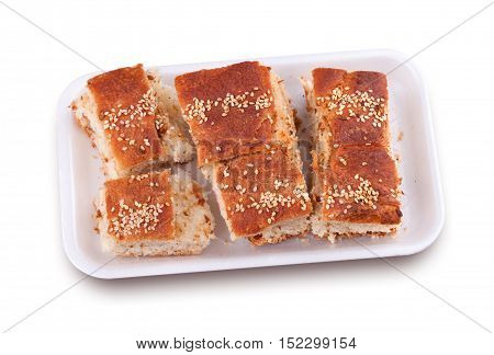 Pastry puffed with pork cracklings isolated on white background.